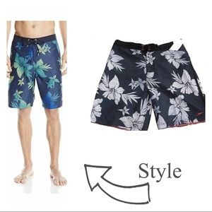 "Men's Speedo Floral 9"" Board Shorts Swim Trunks"